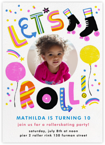 Let's Roll (Photo) - Pink - Hello!Lucky - Online Kids' Birthday Invitations