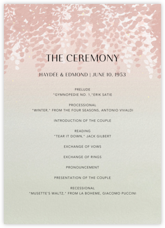 Violette (Program) - Dawn - Paperless Post - Wedding menus and programs - available in paper
