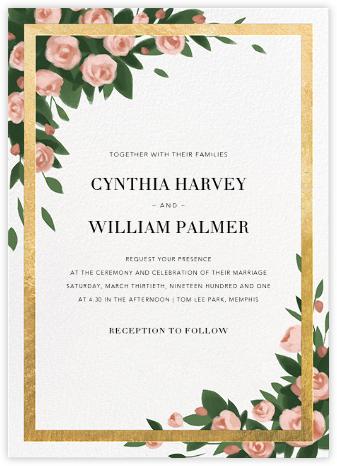 Teablossom (Invitation) - Gold/Pink - Paperless Post - Wedding Invitations