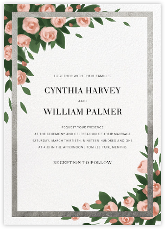 Teablossom (Invitation) - Silver/Pink - Paperless Post - Wedding Invitations
