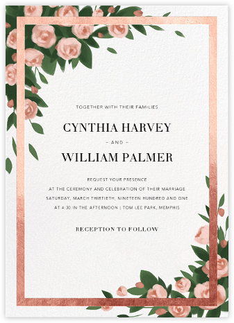 Teablossom (Invitation) - Rose Gold/Pink - Paperless Post - Wedding invitations