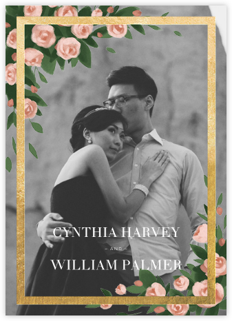 Teablossom (Photo Invitation) - Gold/Pink - Paperless Post - Wedding Invitations