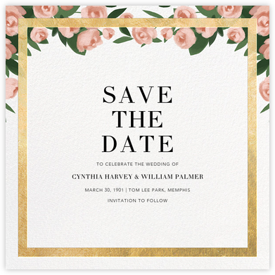 Teablossom (Save the Date) - Gold/Pink - Paperless Post - Gold and metallic save the dates