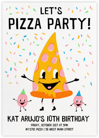 Pizza Party - Hello!Lucky - Online Kids' Birthday Invitations