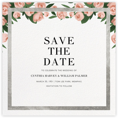 Teablossom (Save the Date) - Silver/Pink - Paperless Post - Save the dates