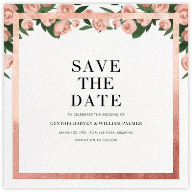 Teablossom (Save the Date) - Rose Gold/Pink - Paperless Post - Save the dates