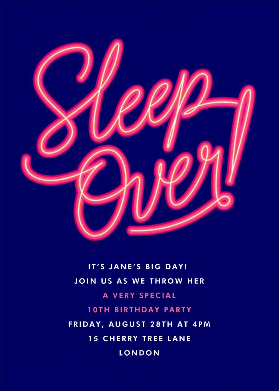 Neon Nights - Paperless Post - Kids' birthday invitations