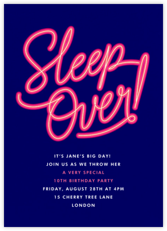 Neon Nights - Paperless Post - Kids' Birthday Invitations
