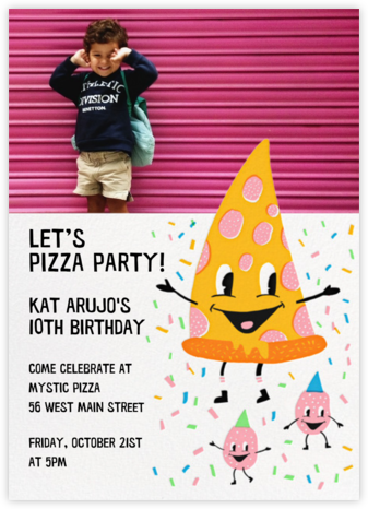 Pizza Party (Photo) - Hello!Lucky - Online Kids' Birthday Invitations