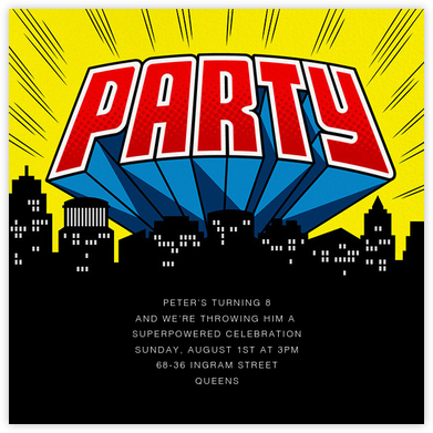 Party Hero - Yellow - Paperless Post - Superheroes