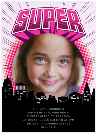 Super Skyline - Blush - Paperless Post - Online Kids' Birthday Invitations