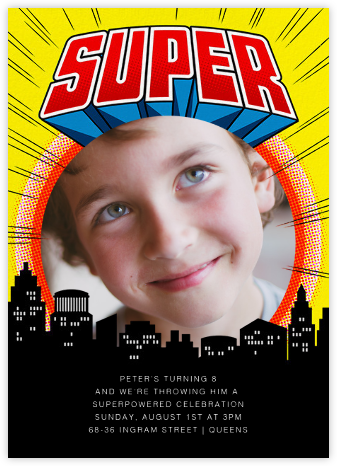 Super Skyline - Yellow - Paperless Post - Birthday invitations