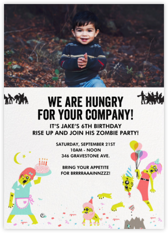The Partying Dead (Photo) - White - Hello!Lucky - Halloween invitations