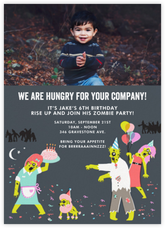 The Partying Dead (Photo) - Blue - Hello!Lucky - Halloween invitations