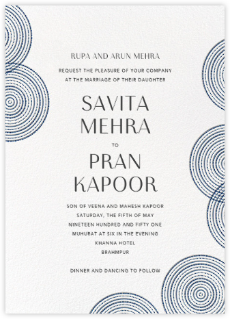 Ghera II (Invitation) - White/Dark Blue - Paperless Post - Indian Wedding Cards