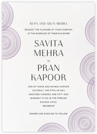 Ghera II (Invitation) - White/Lilac - Paperless Post - Wedding Invitations