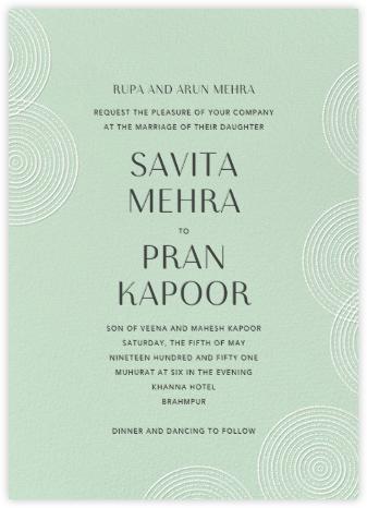 Ghera II (Invitation) - Mint - Paperless Post - Indian Wedding Cards
