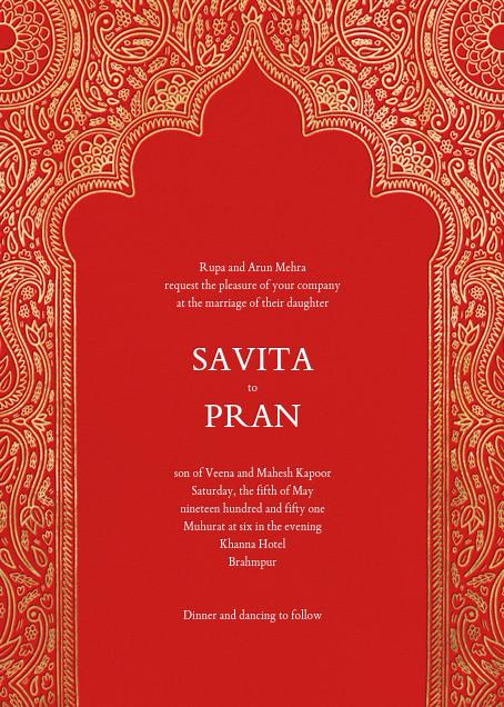 Dvaar (Invitation) - Red - Paperless Post - Wedding invitations