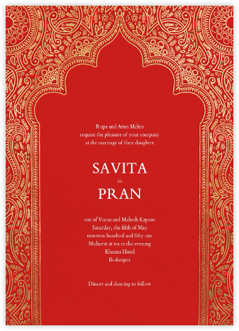 Dvaar (Invitation) - Red - Paperless Post - Indian Wedding Cards