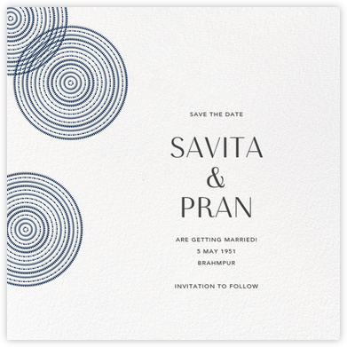 Ghera II (Save the Date) - White/Dark Blue - Paperless Post - Save the dates