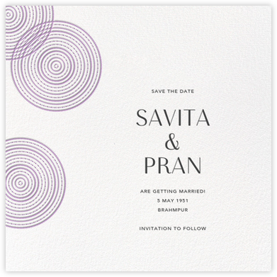 Ghera II (Save the Date) - White/Lilac - Paperless Post - Save the dates