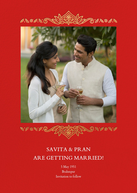 Dvaar (Photo Save the Date) - Red - Paperless Post - Save the dates