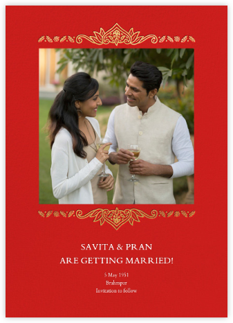 Dvaar (Photo Save the Date) - Red - Paperless Post - Indian Wedding Cards