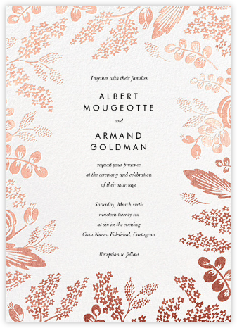 Heather and Lace (Invitation) - White/Rose Gold - Rifle Paper Co. - Wedding Invitations