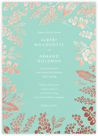 Heather and Lace (Invitation) - Celadon/Rose Gold | null