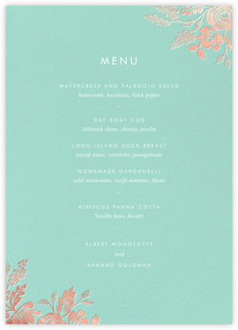Heather and Lace (Menu) - Celadon/Rose Gold | null