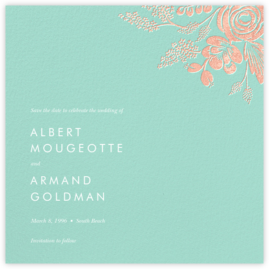 Heather and Lace (Save the Date) - Celadon/Rose Gold - Rifle Paper Co. - Save the dates
