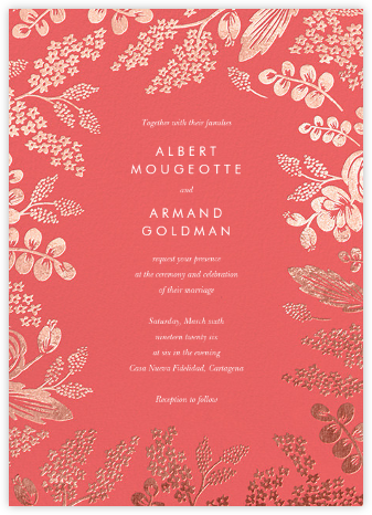 Heather and Lace (Invitation) - Coral/Rose Gold | null