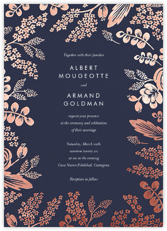 Heather and Lace (Invitation) - Navy/Rose Gold - Rifle Paper Co. - Wedding Invitations