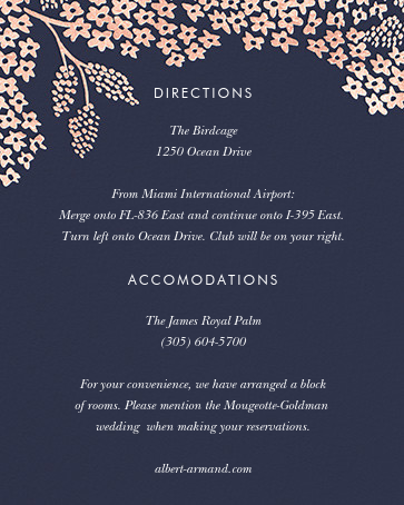Heather and Lace (Invitation) - Navy/Rose Gold - Rifle Paper Co. - All - insert front