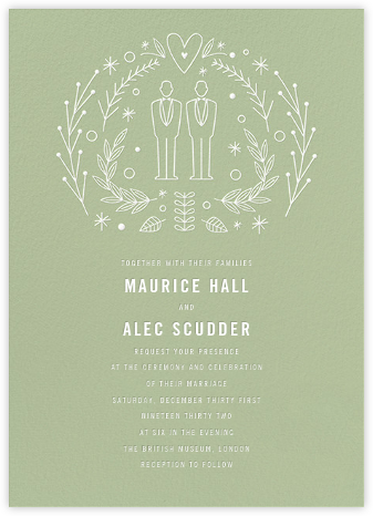 Iconic Grooms (Invitation) - Sage/White - Paperless Post -