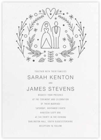 Iconic Bride & Groom (Invitation) - White/Charcoal - Paperless Post - Wedding invitations