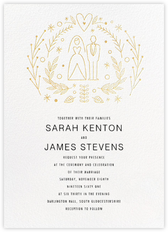 Iconic Bride & Groom (Invitation) - White/Gold - Paperless Post -
