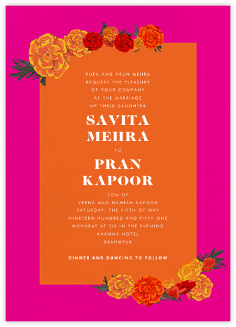 Benares (Invitation) - Bright Pink - Paperless Post - Indian Wedding Cards