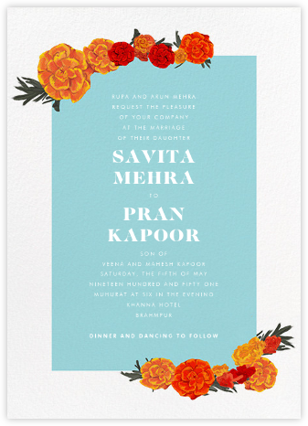 Benares (Invitation) - Caribbean - Paperless Post - Indian Wedding Cards