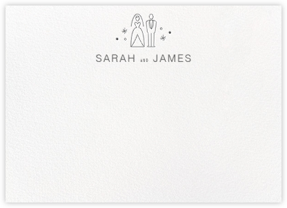Iconic Bride & Groom (Stationery) - White/Charcoal - Paperless Post - Personalized Stationery