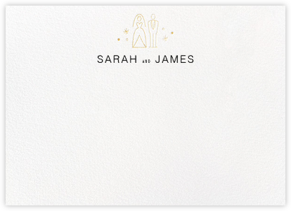 Iconic Bride & Groom (Stationery) - White/Gold - Paperless Post - Personalized Stationery