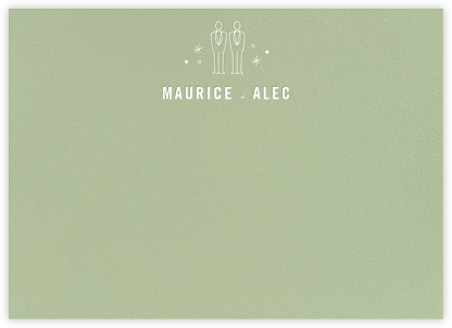 Iconic Grooms (Stationery) - Sage/White - Paperless Post -