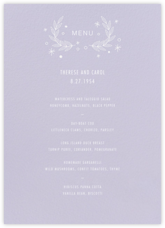 Iconic (Menu) - Lavender/White - Paperless Post -