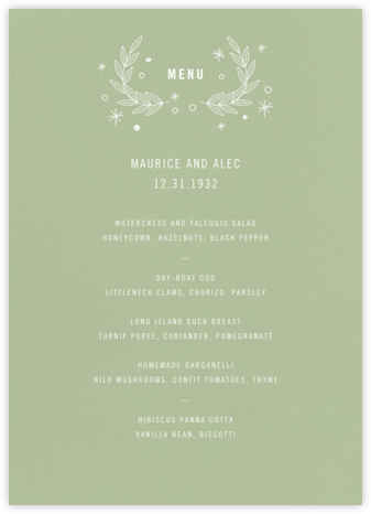Iconic (Menu) - Sage/White - Paperless Post -
