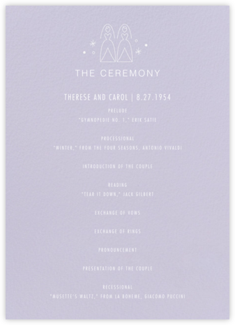 Iconic Brides (Program) - Lavender/White - Paperless Post - Wedding menus and programs - available in paper