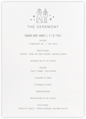Iconic Bride & Groom (Program) - White/Charcoal | null