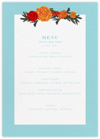 Benares (Menu) - Caribbean - Paperless Post -