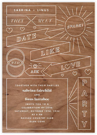 Chronology (Invitation) - Wood - Paperless Post - Wedding Invitations