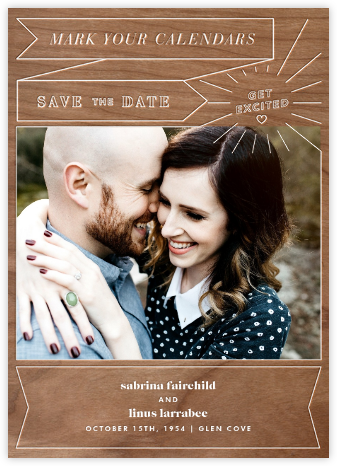 Chronology (Save the Date) - Wood - Paperless Post - Photo save the dates