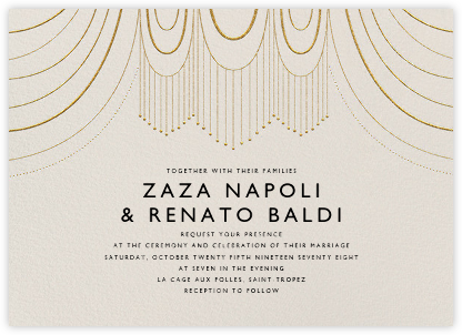 Normandie (Invitation) - Cream/Gold - Paperless Post - Wedding Invitations